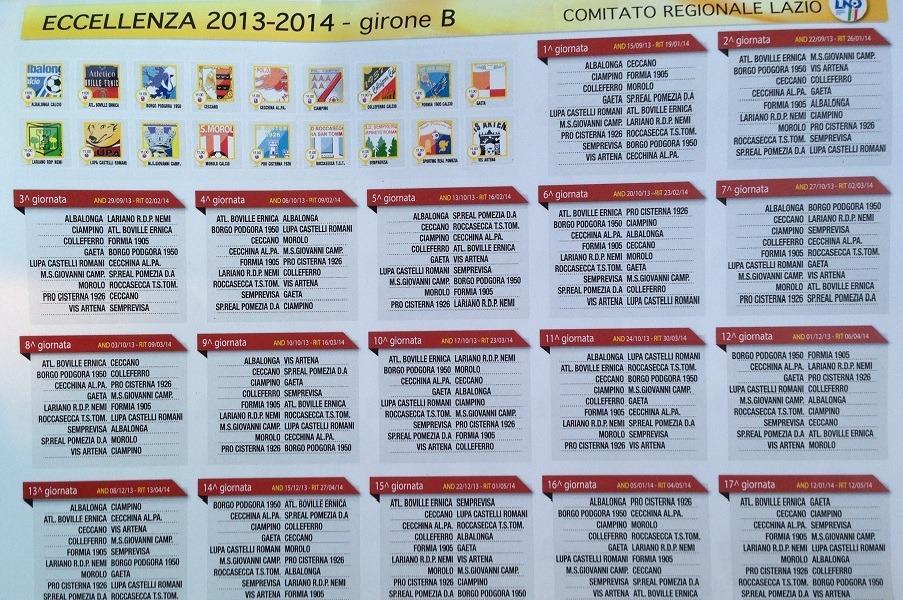 Calendario Eccellenza Girone B.Calendario Completo Eccellenza Girone B 2013 2014