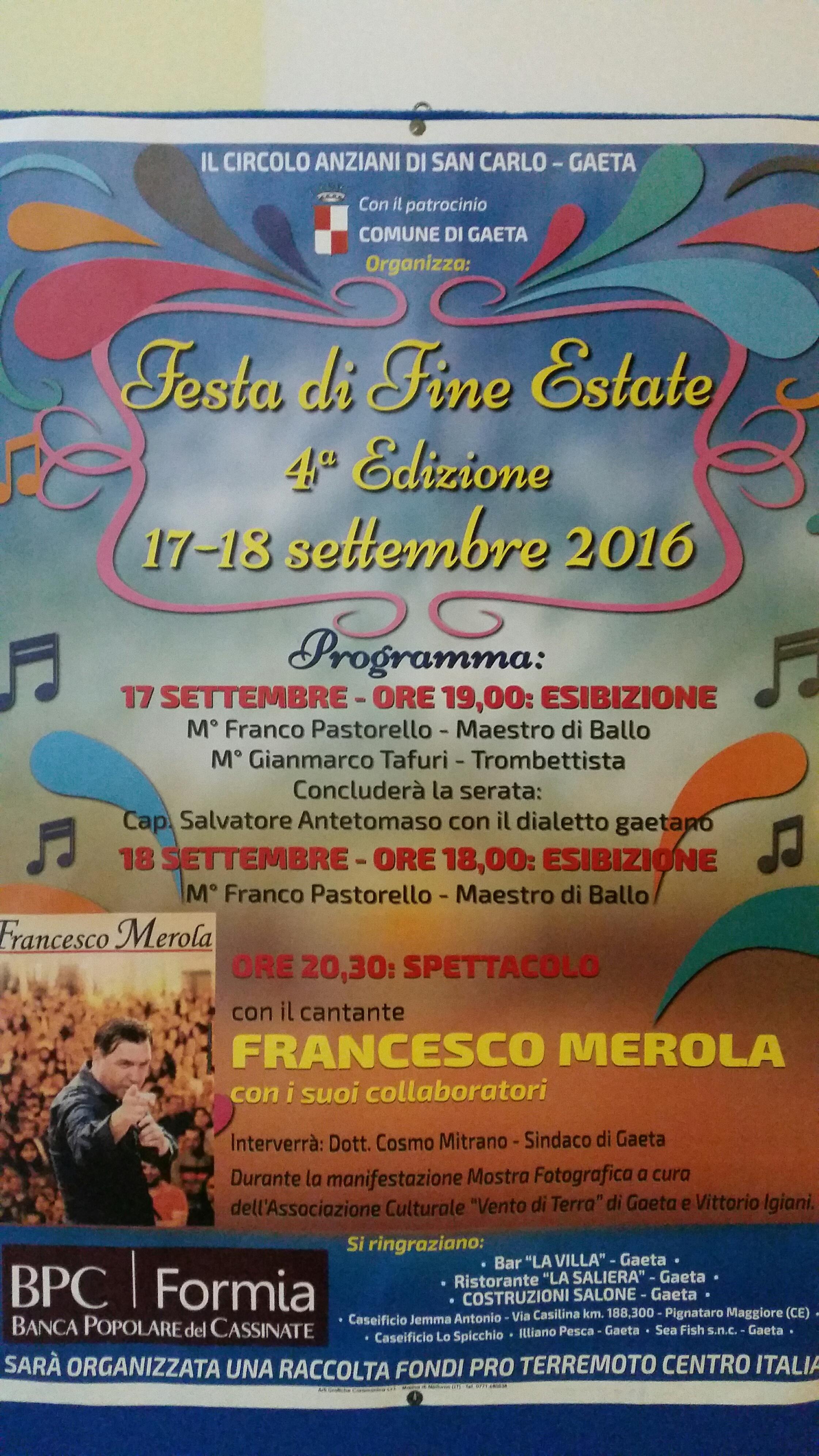 Festa di fine Estate del Centro Anziani San Carlo