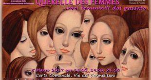 """Formia/""""Querelle des femmes…Voci femminili dal passato"""", il 5 marzo alla Corte comunale"""