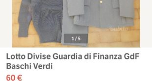 Divise della Guardia di Finanza vendute online: sequestri e denunce