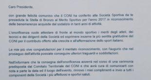Il Gaeta Sporting Club insignito dal CONI della Stella di Bronzo al Merito Sportivo
