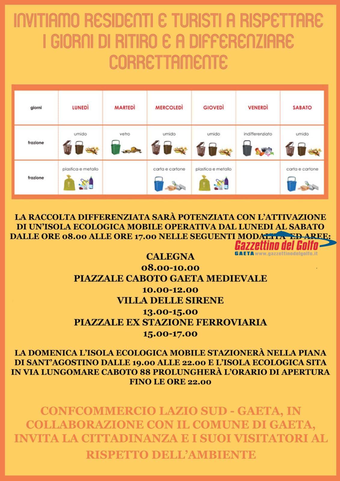 Raccolta differenziata mobile a Gaeta, la campagna di