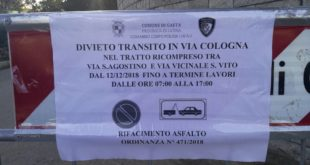 Gaeta, nuovo manto stradale in via Cologna